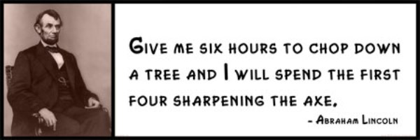 Wall Quotes - Abraham Lincoln - Give me six hours to chop down a tree and I will spend the first four sharpening the axe